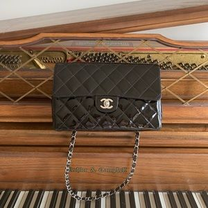 CHANEL Patent Quilted Medium Single Flap Bag black